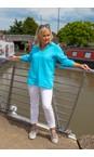 Amazing Woman Turquoise Bela Long Sleeve Linen Top