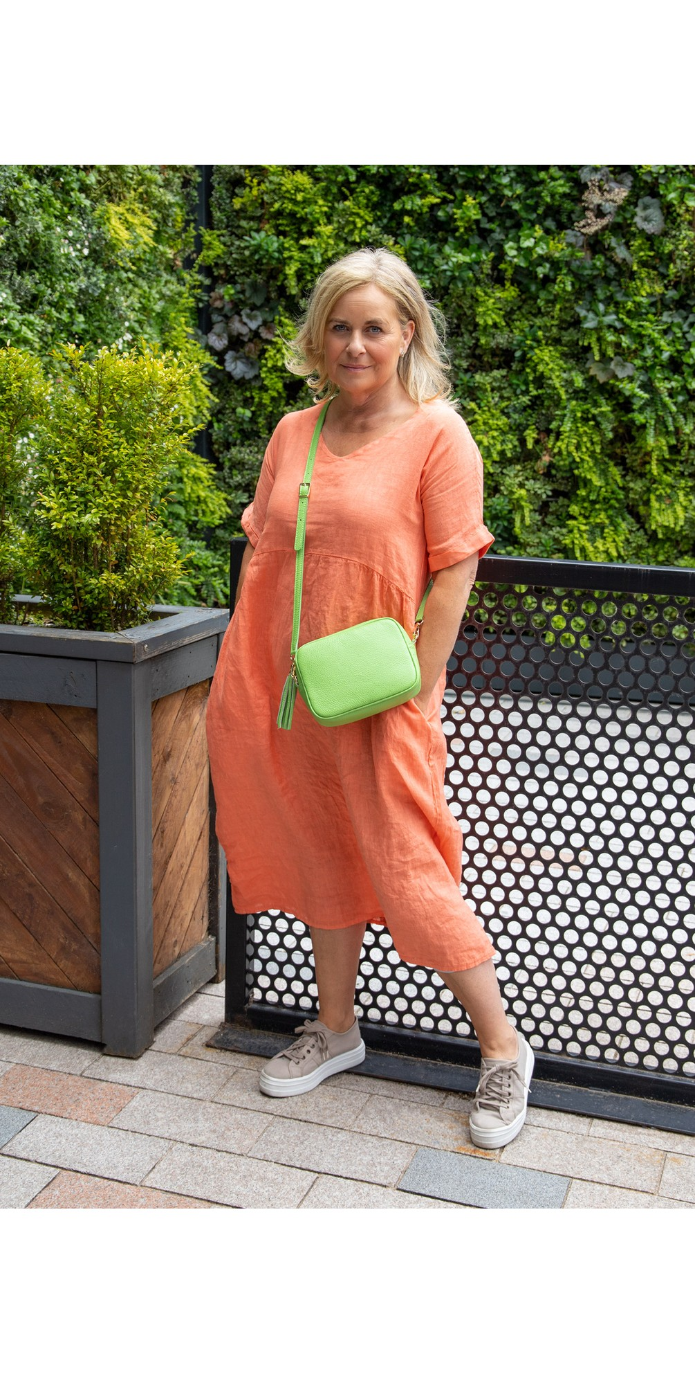 Tesa Midi Papaya Linen dress main image