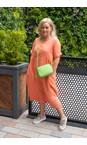 Amazing Woman Papaya Tesa Midi Papaya Linen dress