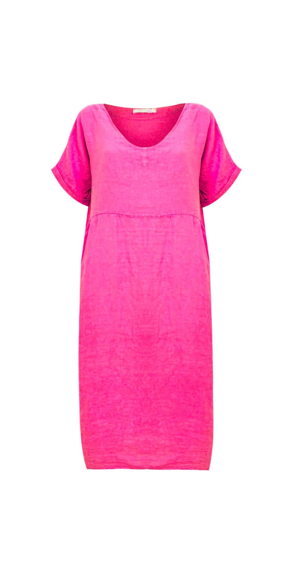 Tesa Midi Fuchsia Linen dress main image