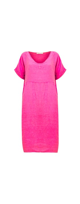 Amazing Woman Tesa Midi Fuchsia Linen dress Fuchsia