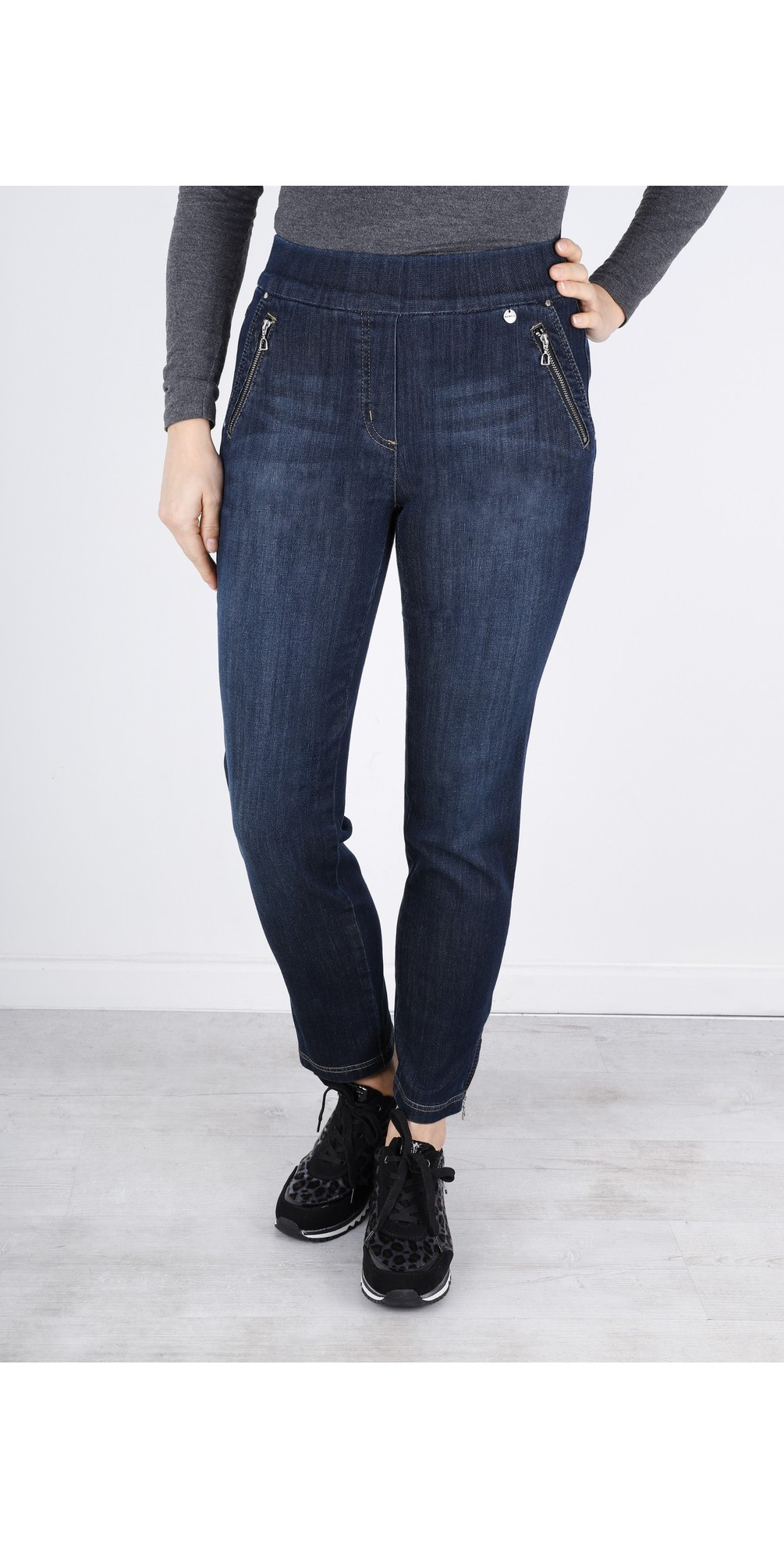 Nena Navy Washed Denim Ankle Zip Cropped Jeans main image