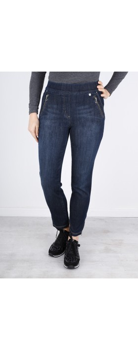 Robell Nena Navy Washed Denim Ankle Zip Cropped Jeans Dark Denim 69