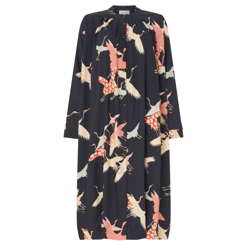 Sahara Flying Crane Print Dress Multi