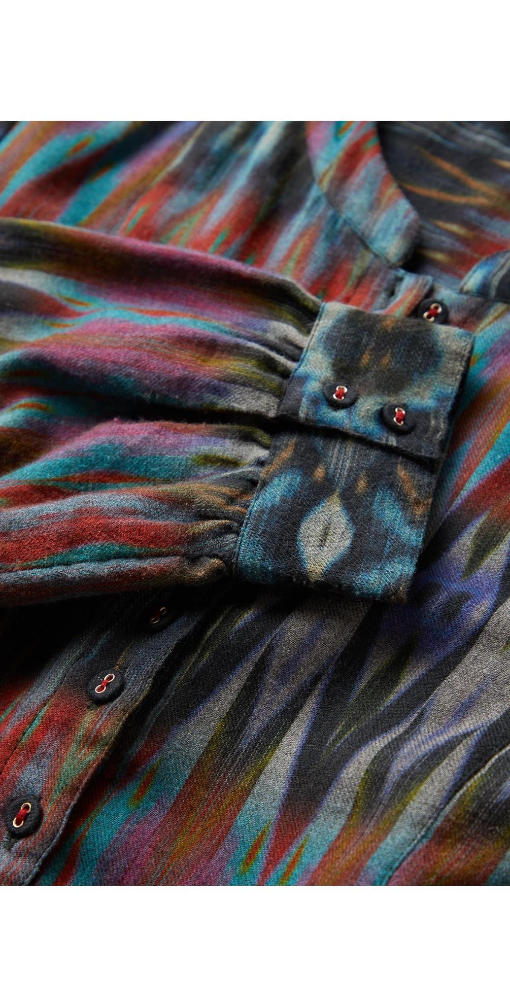 Patched Ikat Print Dress main image