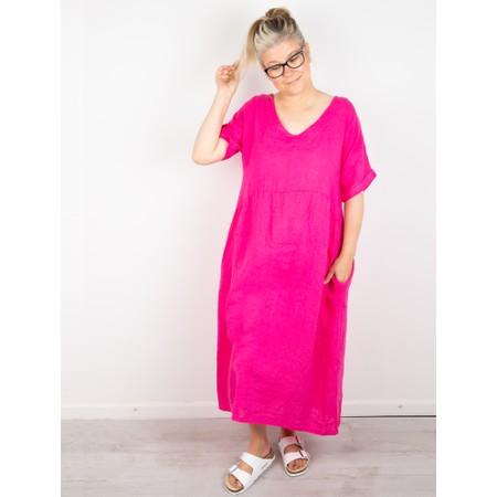 Amazing Woman Tesa Midi Fuchsia Linen dress - Pink