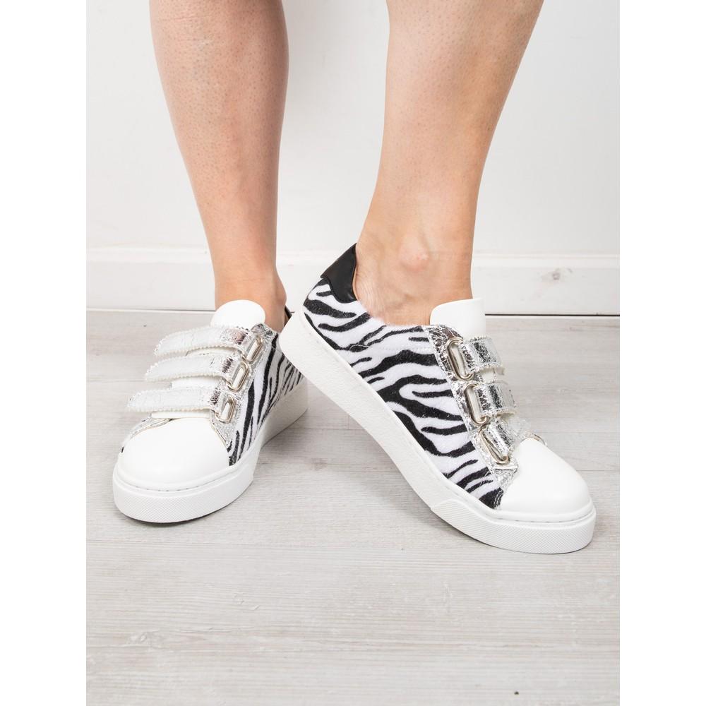Vanessa Wu Manon Zebra Print Velcro Trainer  Zebra / Silver / Black