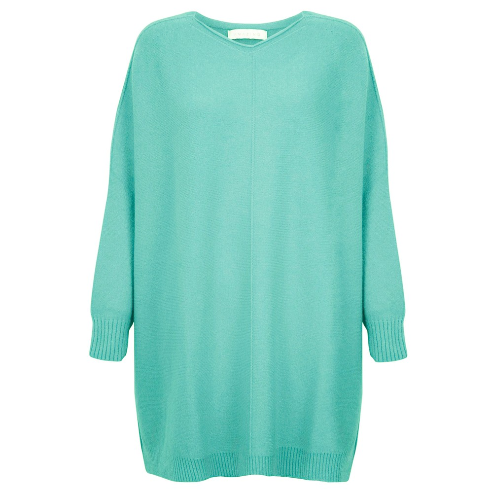 Amazing Woman Cassi X Round Neck Front Seam Knit Summer Turquoise