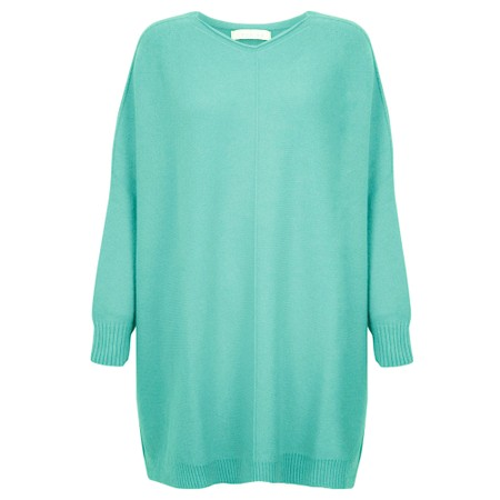 Amazing Woman Cassi X Round Neck Front Seam Knit - Turquoise