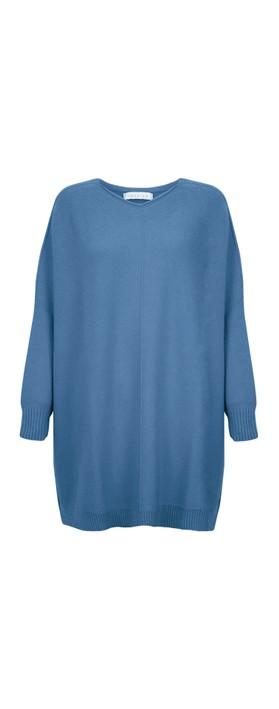 Amazing Woman Cassi X Round Neck Front Seam Knit Summer Blue