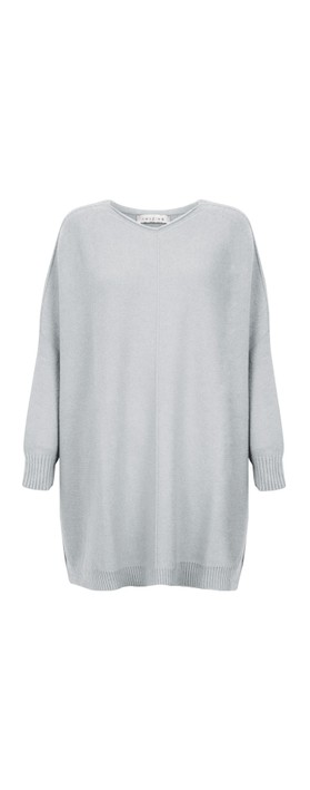 Amazing Woman Cassi X Round Neck Front Seam Knit Silver