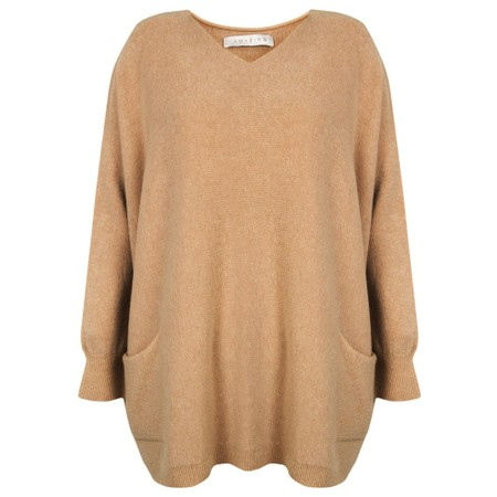Amazing Woman Caryf X Round Neck Oversized Jumper - Brown