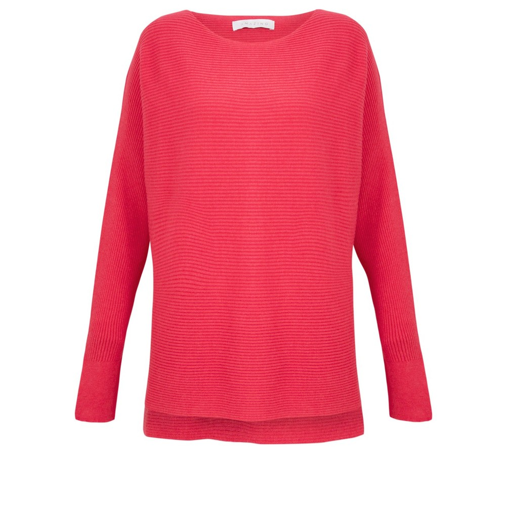 Amazing Woman Celia Round Neck Ribbed Knit Coral Red