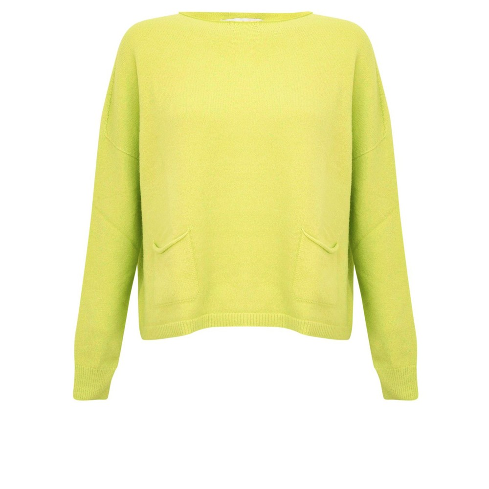 Amazing Woman Jodie Front Pocket Supersoft Knit Jumper Pear