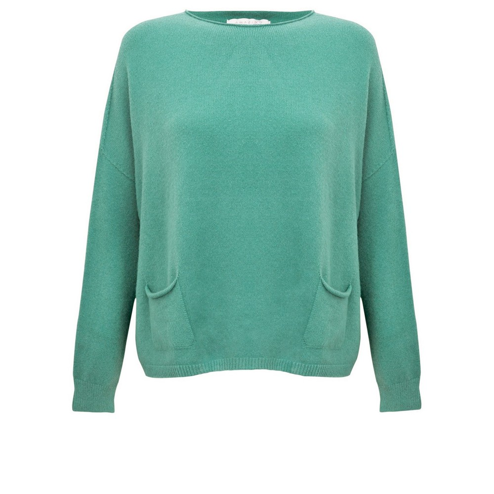 Amazing Woman Jodie Front Pocket Supersoft Knit Jumper Opal