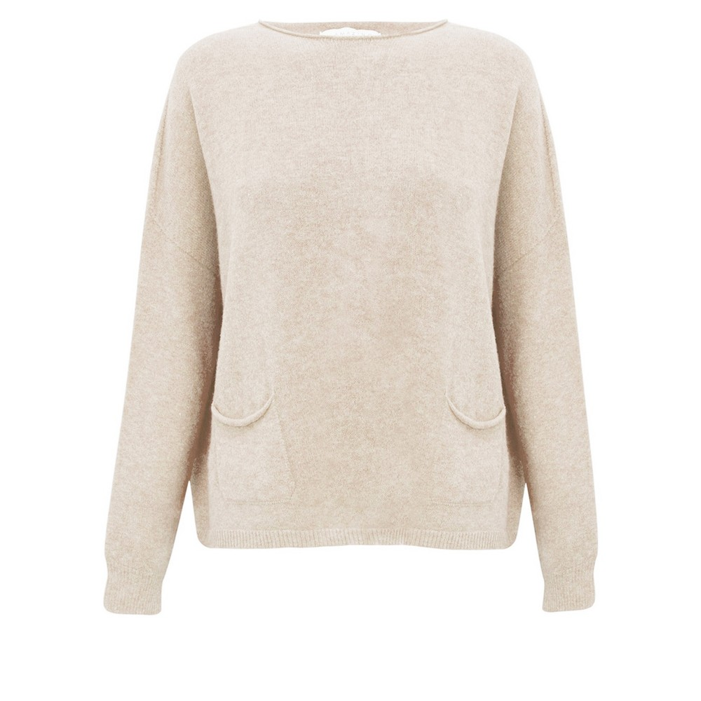 Amazing Woman Jodie Front Pocket Supersoft Knit Jumper Ivory