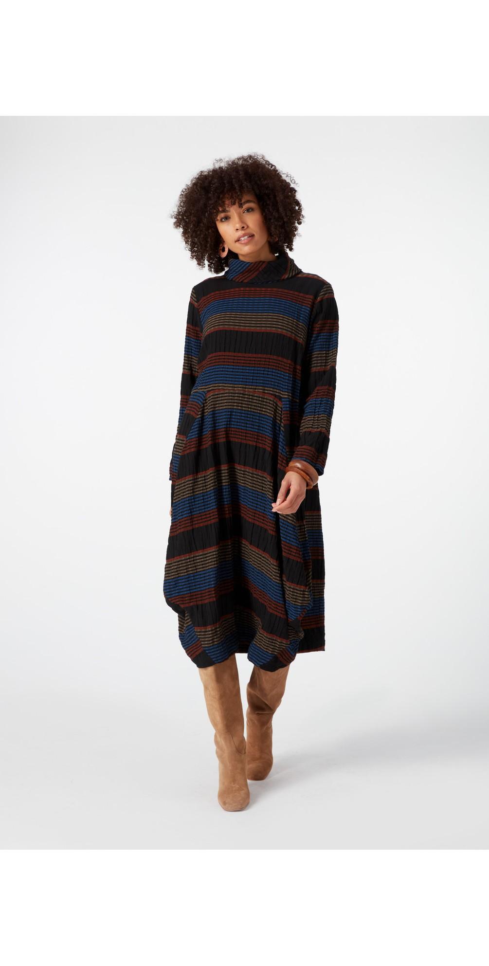 Crinkle Stripe Bubble Dress main image