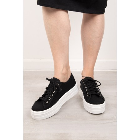 Victoria Shoes Barcelona Flatform Cotton Canvas Washable Sneaker - Black