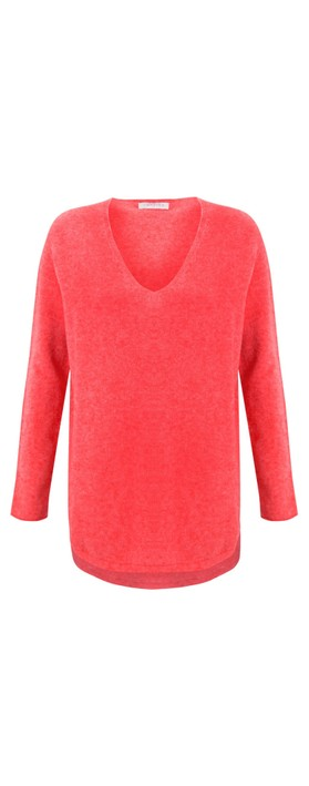 Amazing Woman Perrie V Neck Jumper Coral Red