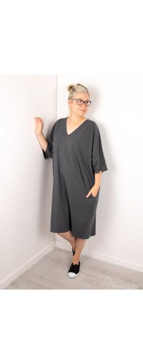Chalk Pippa Plain Organic Jersey Dress Charcoal