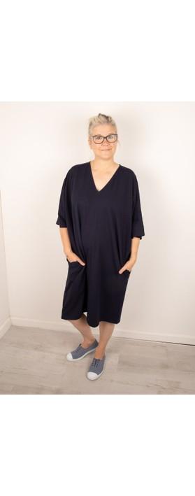 Chalk Pippa Plain Organic Jersey Dress Navy