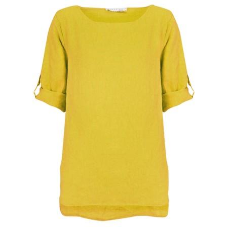 Amazing Woman Elena Linen Button Side Top - Yellow