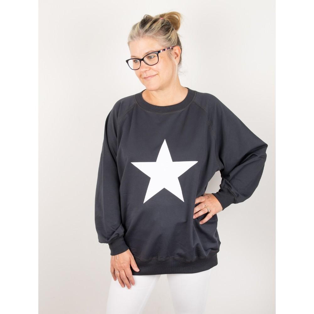 Chalk Nancy Star Oversized Comfy Sweatshirt Charcoal / White