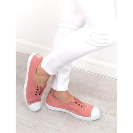 Victoria Shoes Dora Pink Organic Cotton Washable No Lace Pump - Pink