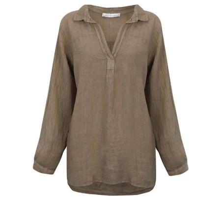 Amazing Woman Bela Long Sleeve Linen Top - Brown