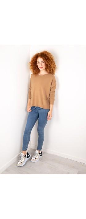 Amazing Woman Jodie Front Pocket Supersoft Knit Jumper Caramel
