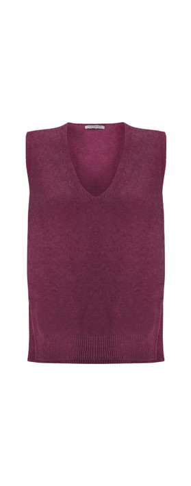 Amazing Woman Pixie V Neck Knitted Vest Plum