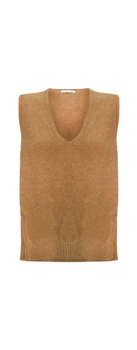 Amazing Woman Pixie V Neck Knitted Vest Caramel