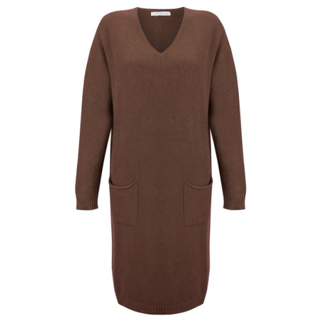 Amazing Woman Pollie V Neck Dress - Brown