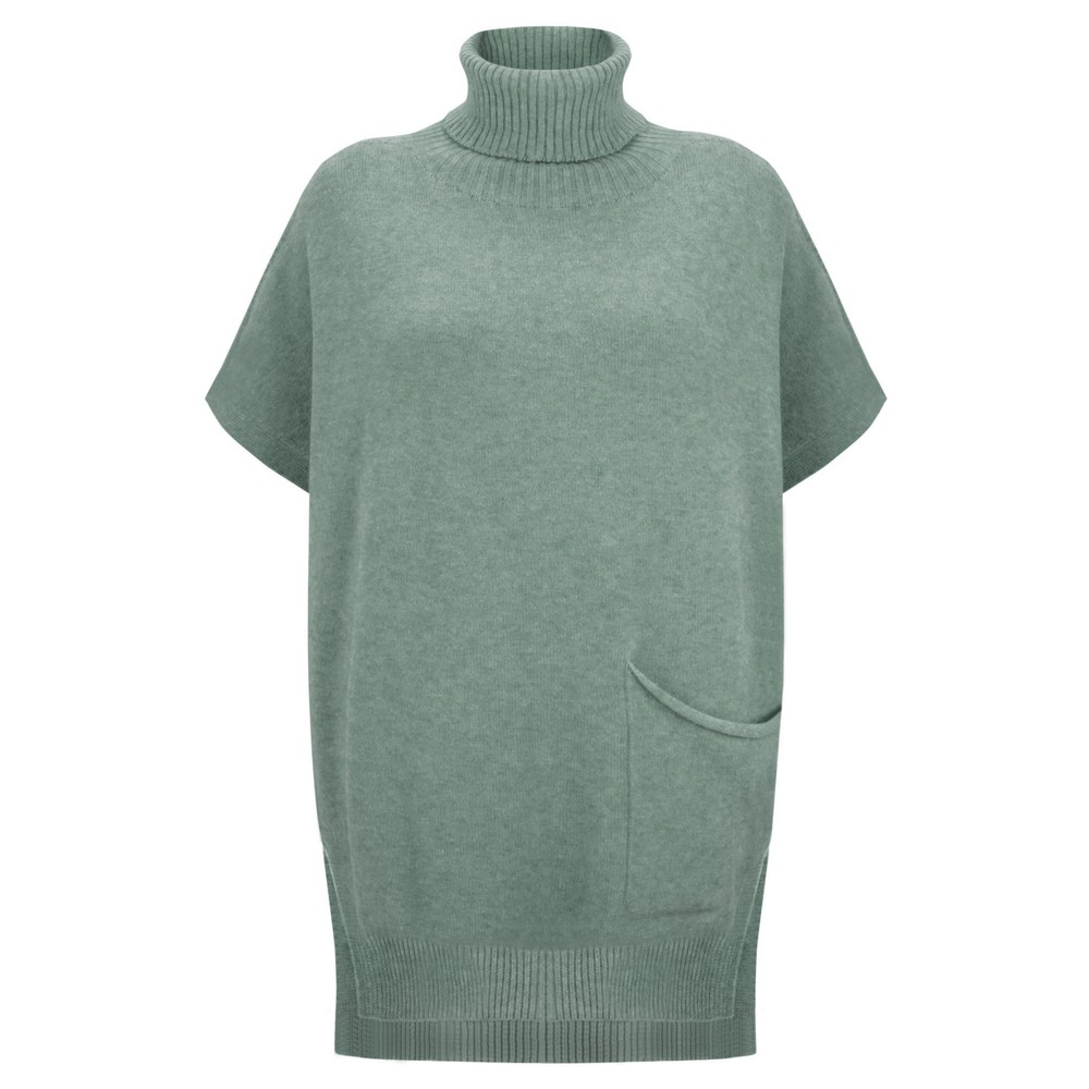 Amazing Woman Piper Roll Neck Poncho Olive