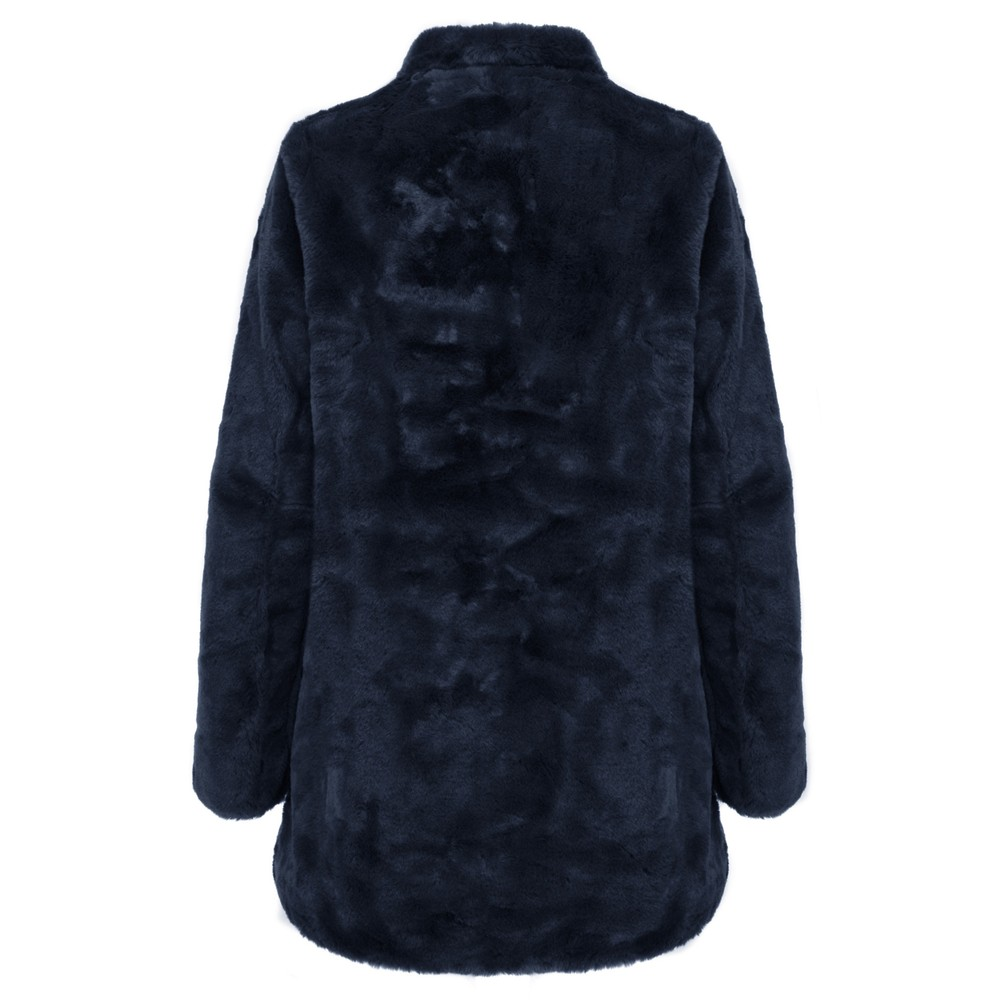 RINO AND PELLE Nonna Faux Fur Coat Navy