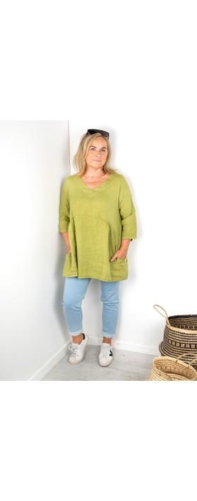 Amazing Woman Tesa V Neck Top Green Anis