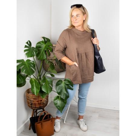 Amazing Woman Lexia Linen Top - Brown