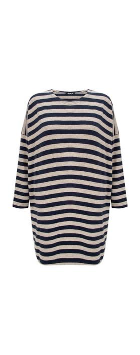 Mama B Grappa P Stripe Fleece Jumper Blu / Marmo