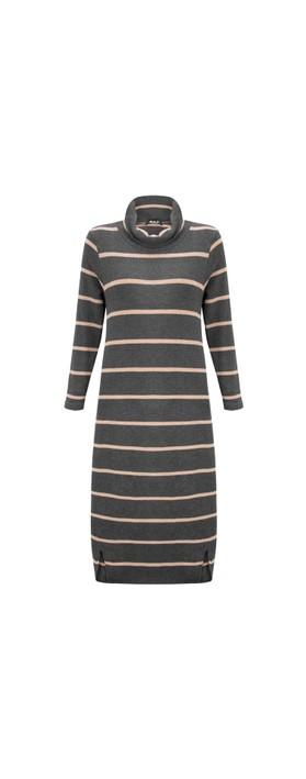 Mama B Tiramisu RG Wide Stripe Fleece Dress Nocciola / Anthra