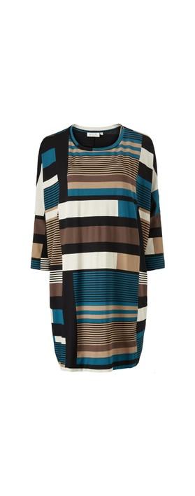 Masai Clothing Gabini Graphic Stripe Tunic Dress Corsair