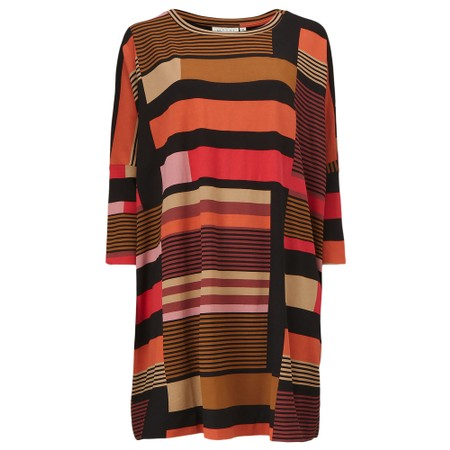Masai Clothing Gabini Graphic Stripe Tunic Dress - Red