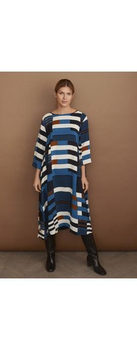 Masai Clothing Nabia Graphic Stripe Dress Corsair