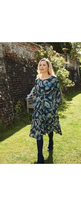 Adini Melissa Silhouette Print Dress  Navy / Green