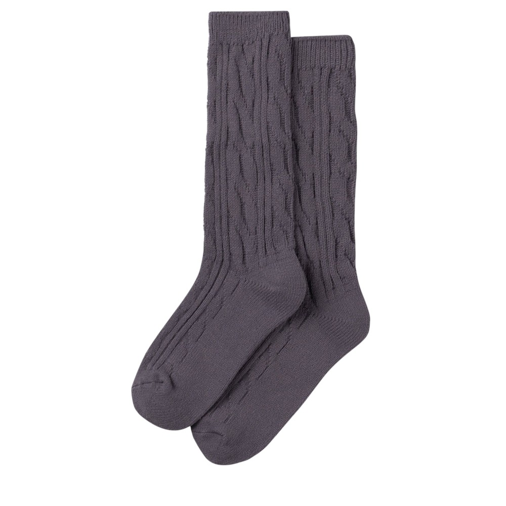 Chalk Cosy Cable Socks Charcoal