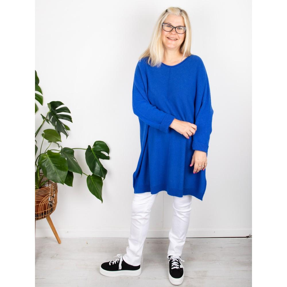 Amazing Woman Cassi X Round Neck Front Seam Knit Blusa Blue