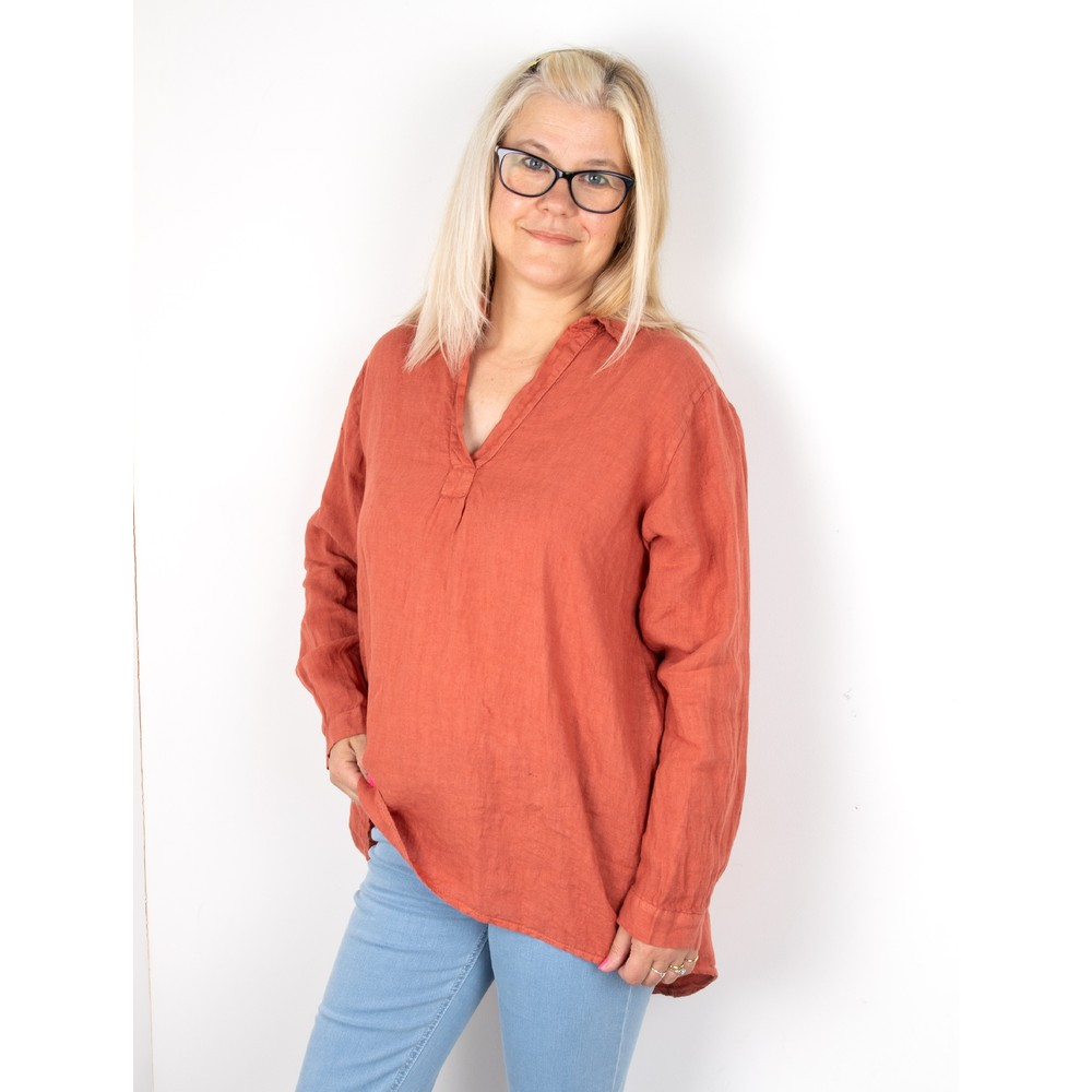 Amazing Woman Bela Long Sleeve Linen Top Pepper Pink