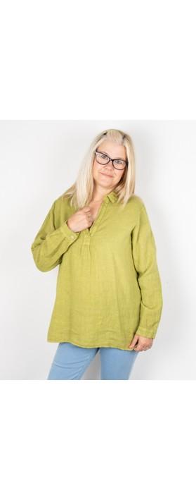Amazing Woman Bela Long Sleeve Linen Top Green Anis
