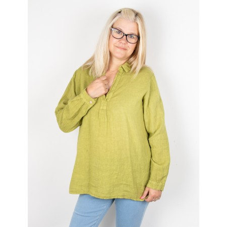 Amazing Woman Bela Long Sleeve Linen Top - Green
