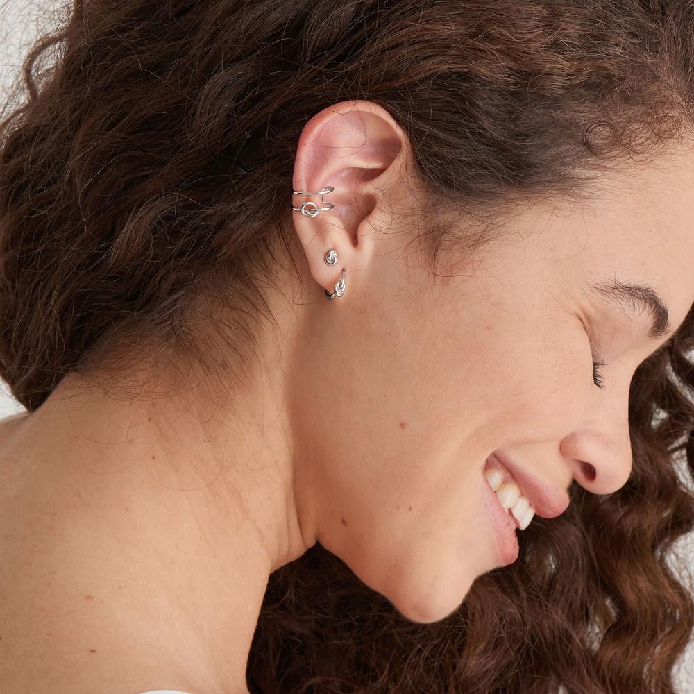 Ania Haie Knot Huggie Hoop Earring Silver