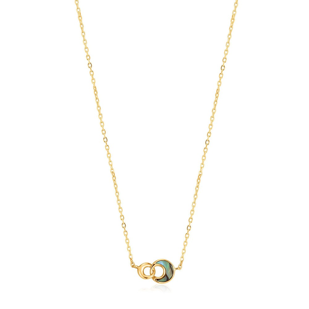 Ania Haie Tidal Abalone Crescent Link Necklace Gold